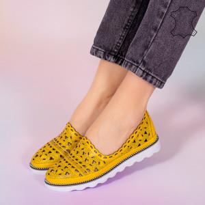 Pantofi piele naturala Bes galbeni