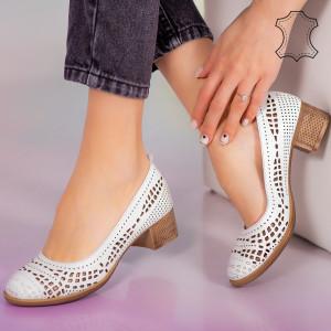 Pantofi piele naturala Bie albi