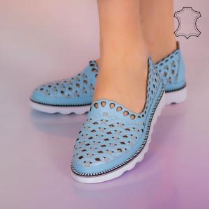 Pantofi piele naturala Bix albastri