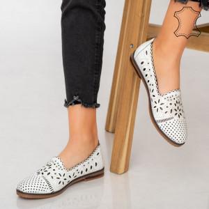 Pantofi piele naturala Fras albi