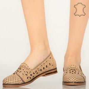 Pantofi piele naturala Fras bej