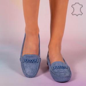 Pantofi piele naturala Melle bleu