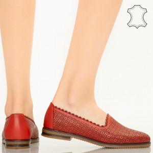 Pantofi piele naturala Timon rosii