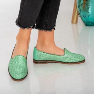 Pantofi piele naturala Timon verzi