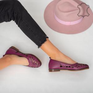 Pantofi piele naturala Vessy mov