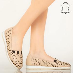 Pantofi piele naturala Zac bej