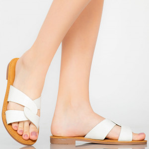 Papuci dama Eman albi