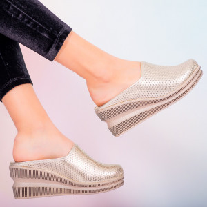 Papuci piele naturala Movis argintii