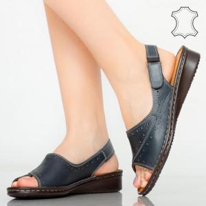 Sandale piele naturala Bedy albastre