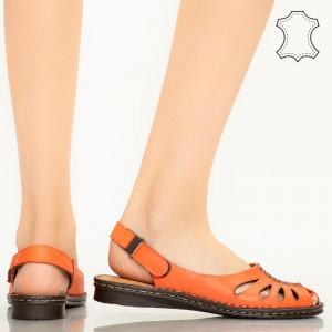 Sandale piele naturala Lya portocalii