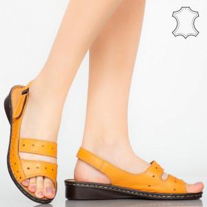 Sandale piele naturala Rima portocalii