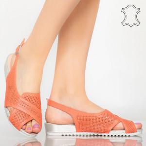 Sandale piele naturala Sion portocalii