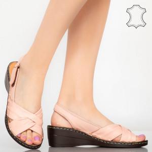 Sandale piele naturala Yama roz