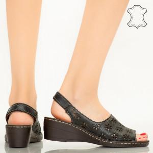 Zarea fekete valódi bőr cipő