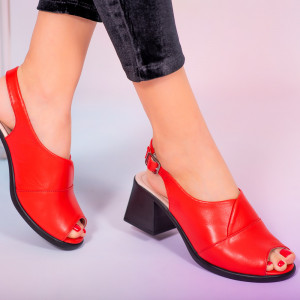 Мело червени сандали от естествена кожа