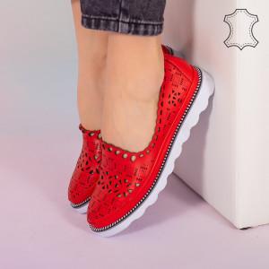 Bon piros természetes bőr cipő