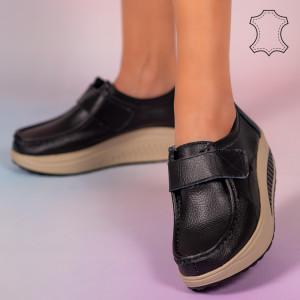 Metas fekete természetes bőr cipő