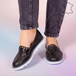 Pantofi piele naturala Bon negri