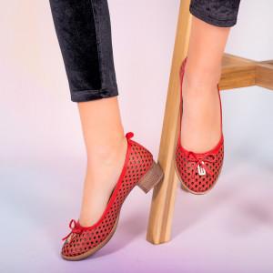 Pantofi piele naturala Bro rosii