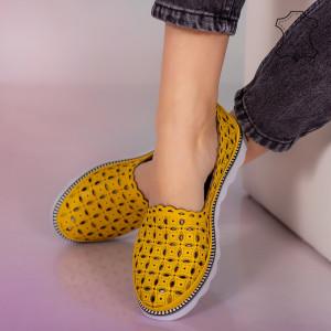 Pantofi piele naturala Bun galbeni
