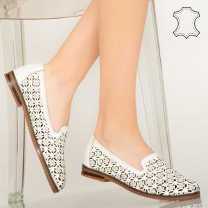 Pantofi piele naturala Bury albi