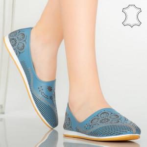 Pantofi piele naturala Cess albastri