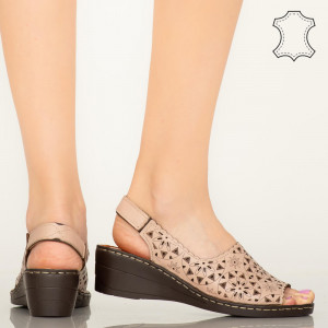 Pantofi piele naturala Crato roz