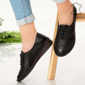 Pantofi piele naturala Hov negre
