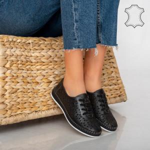 Pantofi piele naturala Hud negri