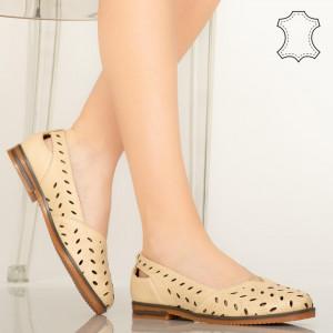 Pantofi piele naturala Lages bej