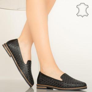 Pantofi piele naturala Maua negri