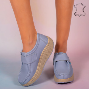 Pantofi piele naturala Maxo albastri
