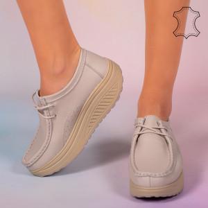 Pantofi piele naturala Maxo gri