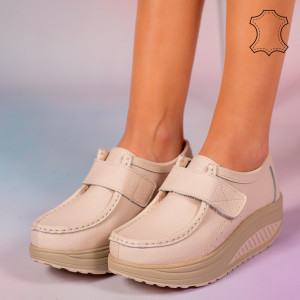 Pantofi piele naturala Metas bej