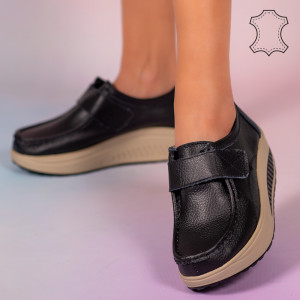 Pantofi piele naturala Metas negri