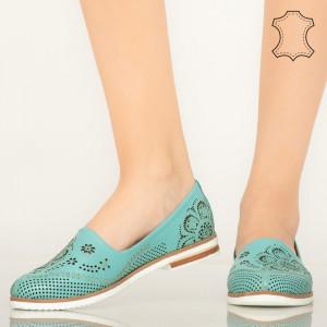 Pantofi piele naturala Mogi turcoaz
