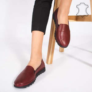 Pantofi Piele Naturala MUDE Bordo