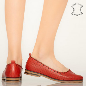 Pantofi piele naturala Olind rosii