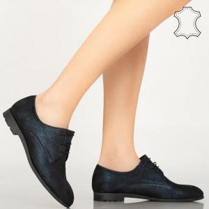 Pantofi piele naturala Pire albastri