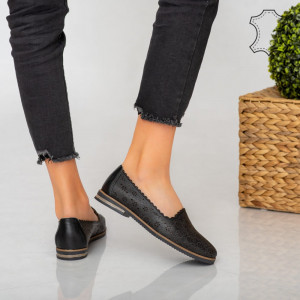 Pantofi piele naturala Veso negri