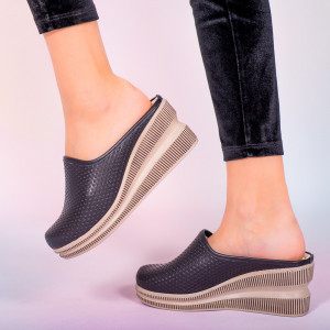 Papuci piele naturala Movis negri