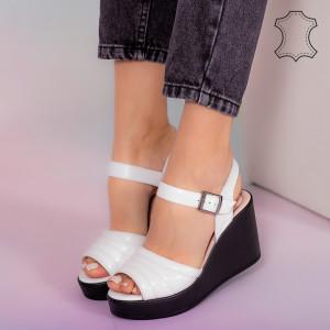 Sandale piele naturala Ber albe
