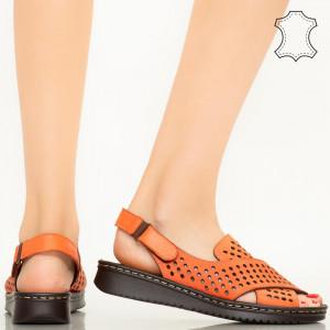 Sandale piele naturala Cox portocalii