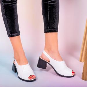 Sandale piele naturala Melo albe