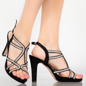 Дамски черни дамски сандали