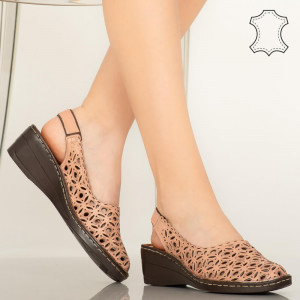 Huan rózsaszín valódi bőr cipő