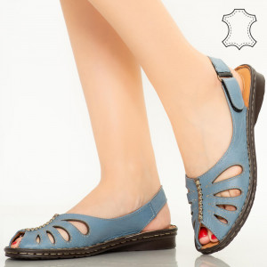 Lya сини сандали от естествена кожа