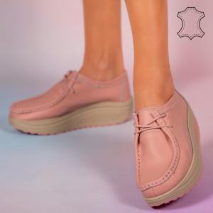Maxo rózsaszín valódi bőr cipő