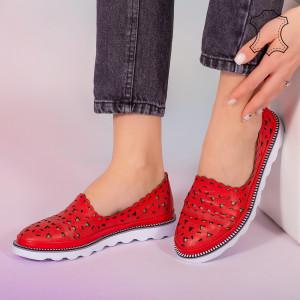 Pantofi piele naturala Bes rosii