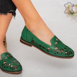 Pantofi piele naturala Betim verzi